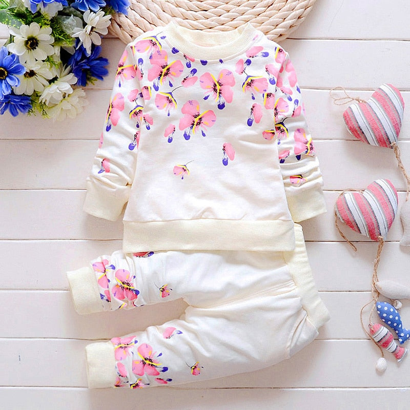 Baby Girl Clothing Sets Fashion Long Sleeve Print Flower Toddler Tshirt + Pants 2PCS 1 2 3 4 Years Kids Girls Wear - go-sale-now