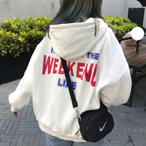 Hoodies Women Letter Printed Loose Hooded Trendy Pockets Plus Velvet Sweatshirts Womens Korean Style Harajuku All-match Chic - go-sale-now