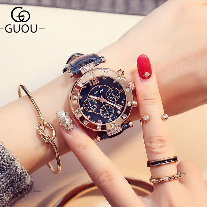 GUOU Women's Watches 2019 Ladies Watch Women Diamond Watches Bracelets For Women Montre Femme Auto Calendar Clock Leather Saat - go-sale-now