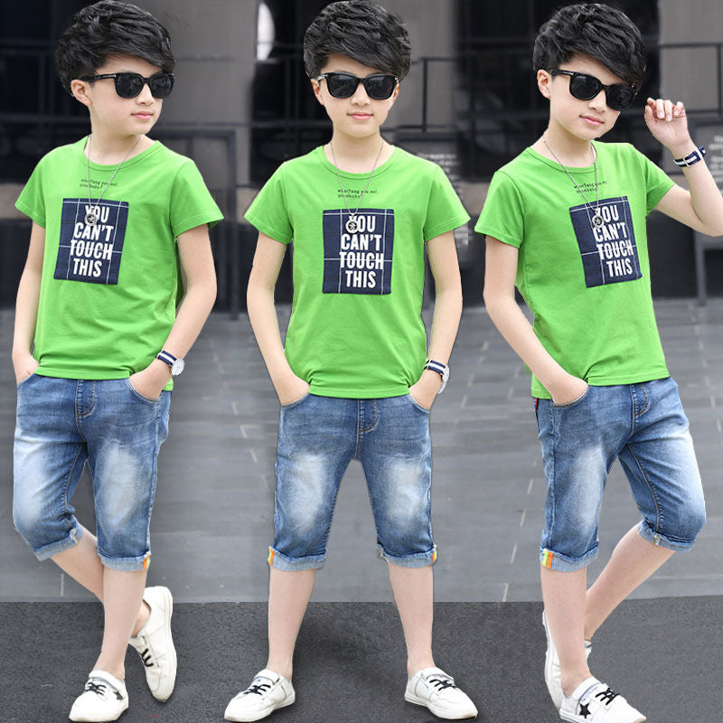Boys Sets Summer Sport Suits Big Boys Alphabet Boys Kids Track Sets Black Gray Color 4-12 14 Ages Girls Clothes 10 12 Year