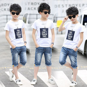 Boys Sets Summer Sport Suits Big Boys Alphabet Boys Kids Track Sets Black Gray Color 4-12 14 Ages Girls Clothes 10 12 Year - go-sale-now