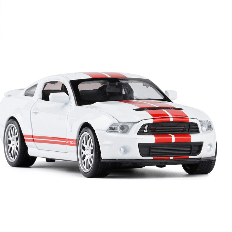 Simulation Alloy Diecast 1:32 Toy Vehicles Mustang Shelby GT500 Car Model Metal Pull Back Toy Car With Sound Light - go-sale-now