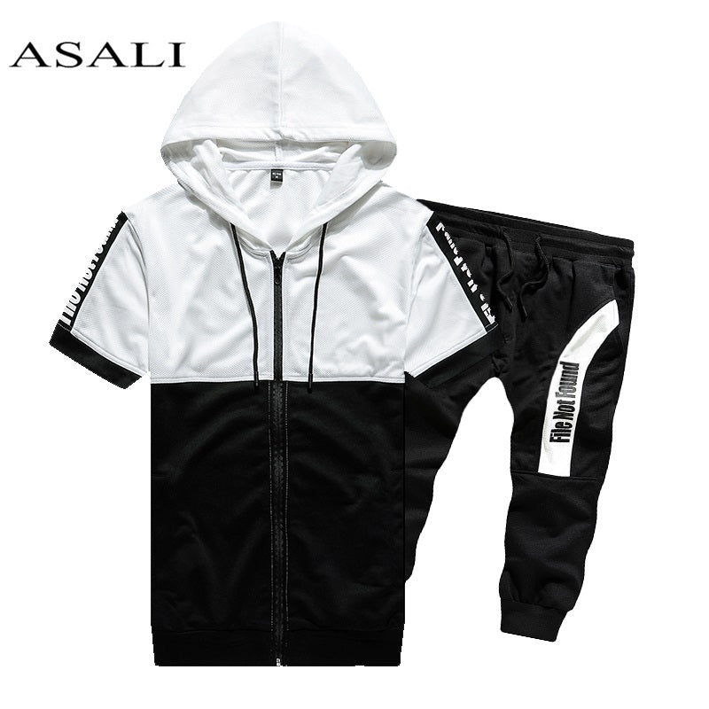 2019 Men Sets Hooded Sweatshirt 2 Piece Mens Hoodies Top Casual Sweatshirt Male Coats Sweat Suits Letter Print Sets Short Sleeve - go-sale-now