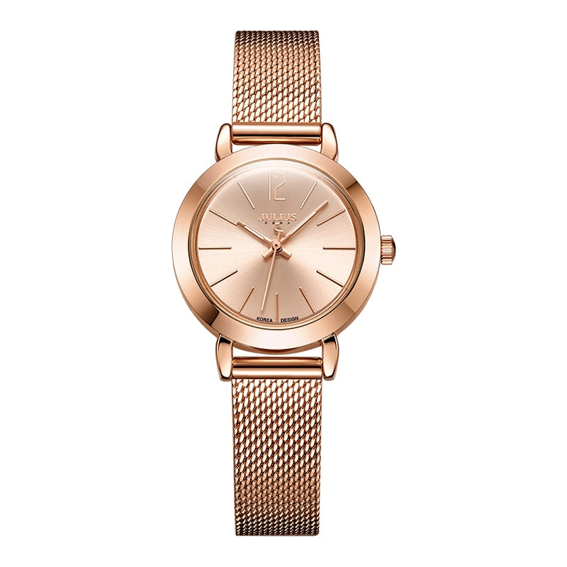 JULIUS JA-732 Female Women's Silver Rose Gold Tone Mesh Stainless Steel Quartz Analog Waterproof Fashion Watch Casual Wristwatch - go-sale-now