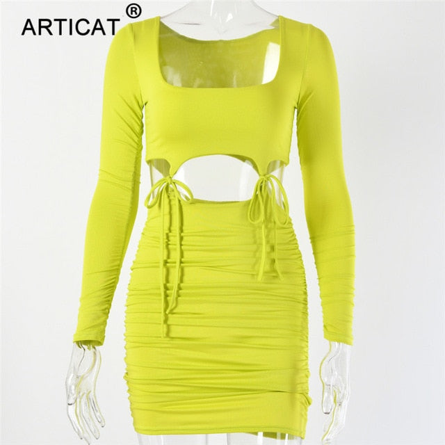 Articat Hollow Out Lace Up Sexy Summer Dress Women Long Sleeve Pleated Bodycon Bandage Dress Short Casual Beach Party Dresses - go-sale-now