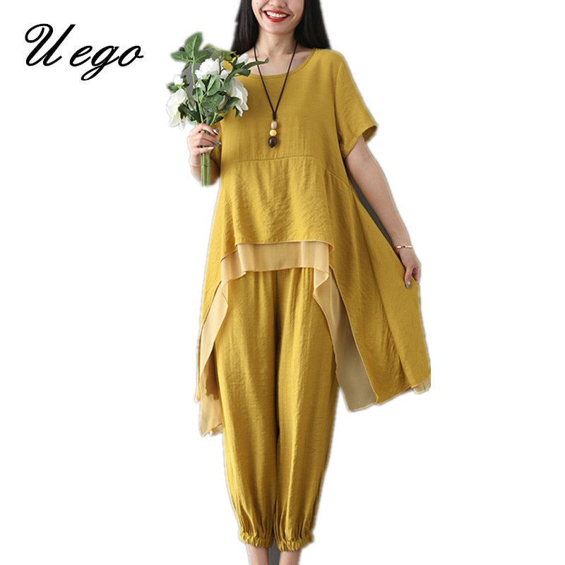 Uego Cotton Linen Women Sets Loose Tops+Pants Two Piece Sets Women Casual Set Plus Size 2019 New Lady Summer Clothes Suits Sets - go-sale-now