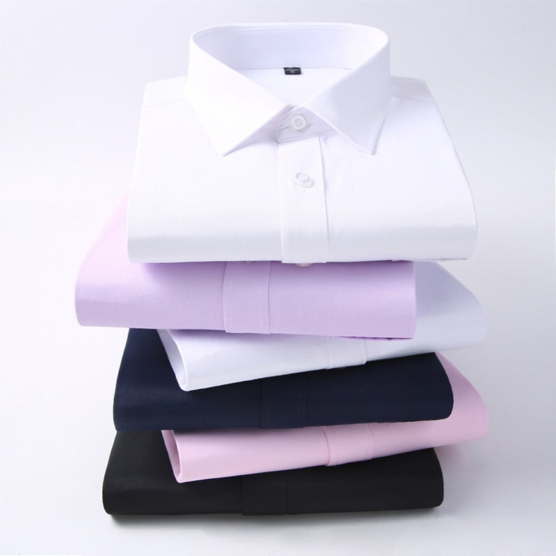 Men Long Sleeve Shirt 2019 Spring New Brand Solid Color Business Office Formal Men Dress Shirt Plus Size Male Shirt Chemise 7XL - go-sale-now