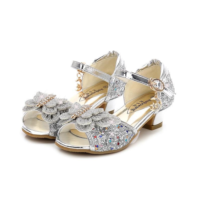 Summer Girls Princess Shoes For kids Party High Heel Sandals Flower Children Glitter Leather Shoes Butterfly Knot Dress Wedding - go-sale-now