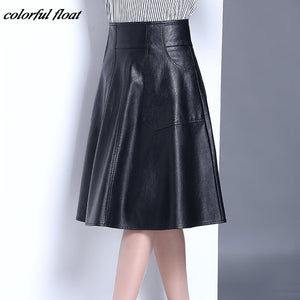 Autumn and winter high-waist pu leather PU skirts skirts pleated A skirt large yards - go-sale-now