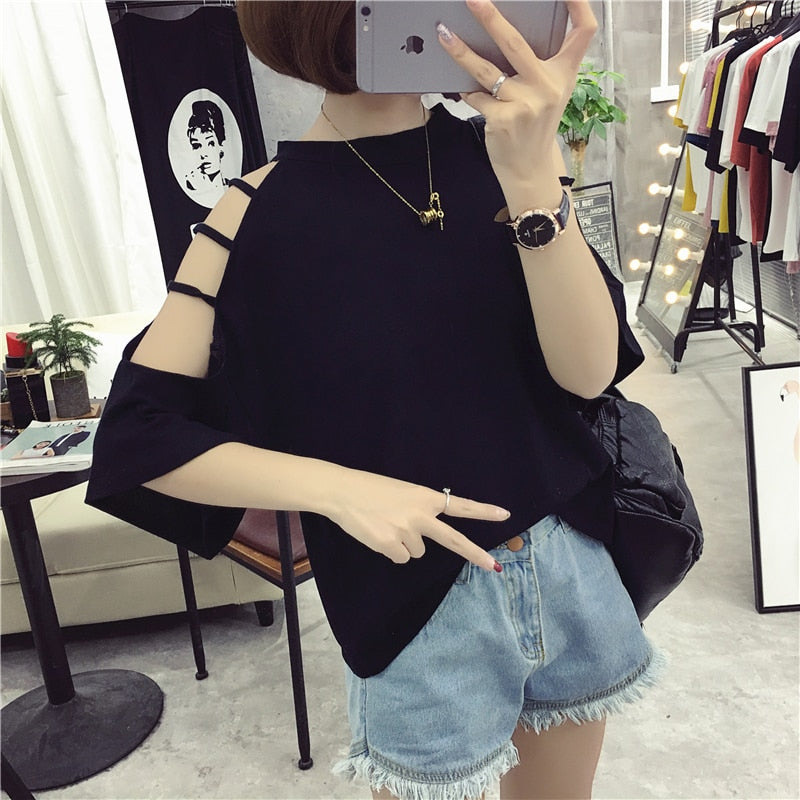 Free Shipping Women T-Shirts 2019 Summer Casual Ladies Lacd-up O-Neck Half Sleeve Solid Blusas Casual Loose Tops - go-sale-now