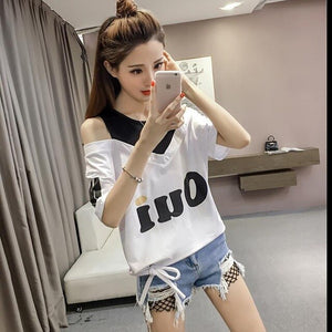 Summer New Yellow Women Short-sleeved T-shirt Fashion Bow Harajuku Costume Sexy Strapless Trend Top Sweet Style Female T-shirt - go-sale-now