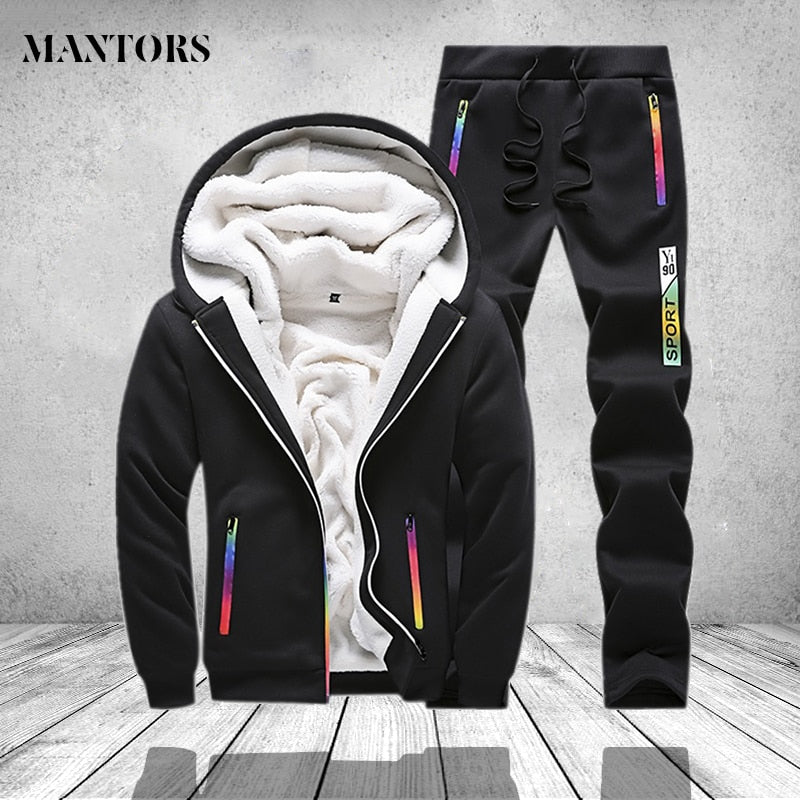 Winter Tracksuit Men Set Sporting Two Pieces Sweatsuit Mens Clothes Printed Thick Hooded Hoodies Jacket + Pants Track Suit Male - go-sale-now