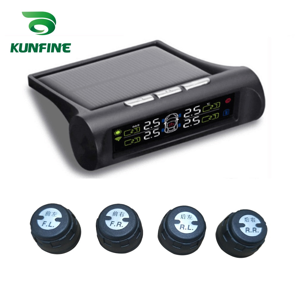 Smart Car TPMS Tire Pressure Monitoring System Solar Energy TPMS Digital LCD Display Auto Security Alarm Systems Internal Sensor - go-sale-now