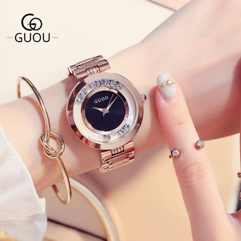 GUOU Women's Watches Rose Gold Ladies Watch Fashion Luxury Bracelet Watches For Women Rhinestone Clock Women reloj mujer saat - go-sale-now