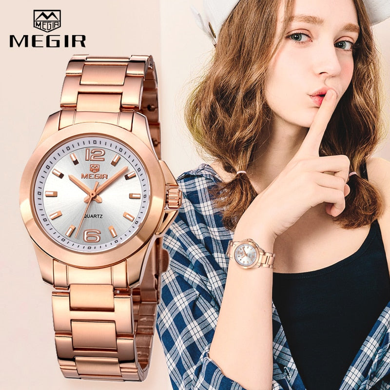 MEGIR Luxury Brand Women Dress Watches Fashion Rose Gold Bracelet Watch for Ladies Wristwatch Female Quartz Clock Montre Femme - go-sale-now