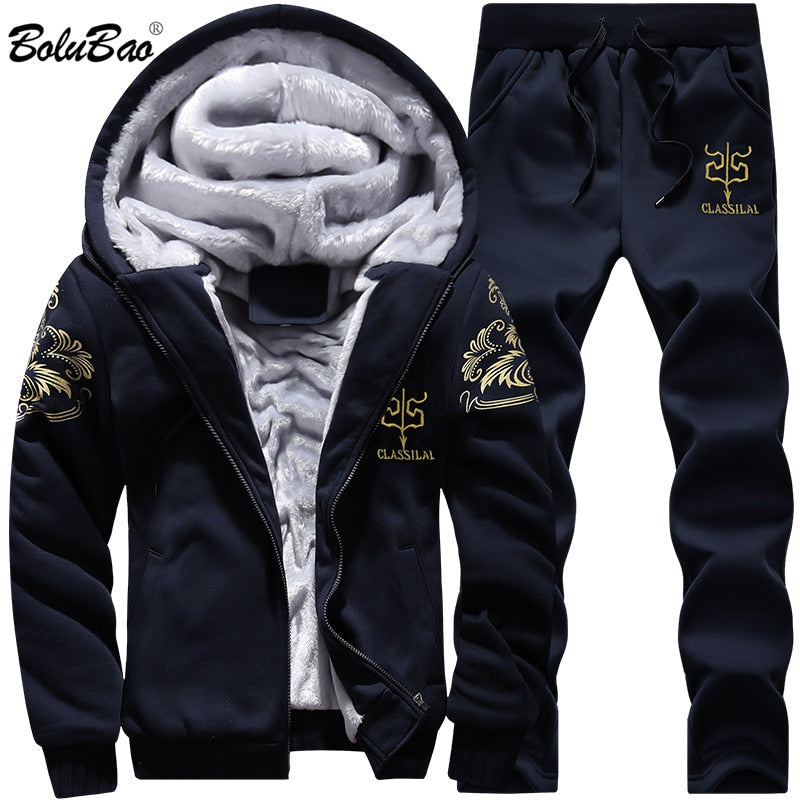 BOLUBAO New Men Set Fashion Brand Tracksuit Lined Thick Sweatshirt + Pants Sportswear Suit Male Winter Suit