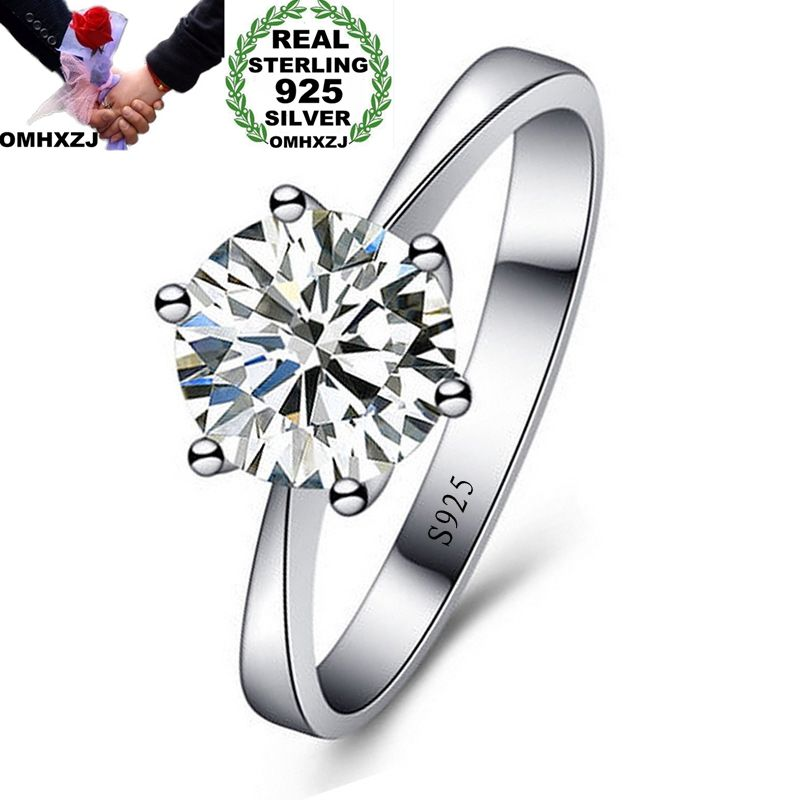 OMHXZJ Wholesale Personality Fashion OL Woman Girl Party Wedding Gift White Simple AAA Zircon S925 Sterling Silver Ring RN121 - go-sale-now