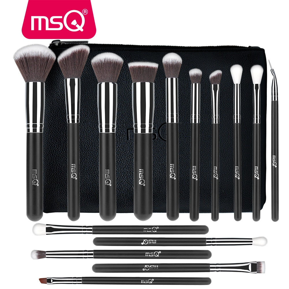 MSQ 4/15/19PCS Makeup Brushes Set Powder Foundation Eyeshadow Brush Make Up Kits Beauty Cosmetics Tools Natural & Synthetic Hair - go-sale-now
