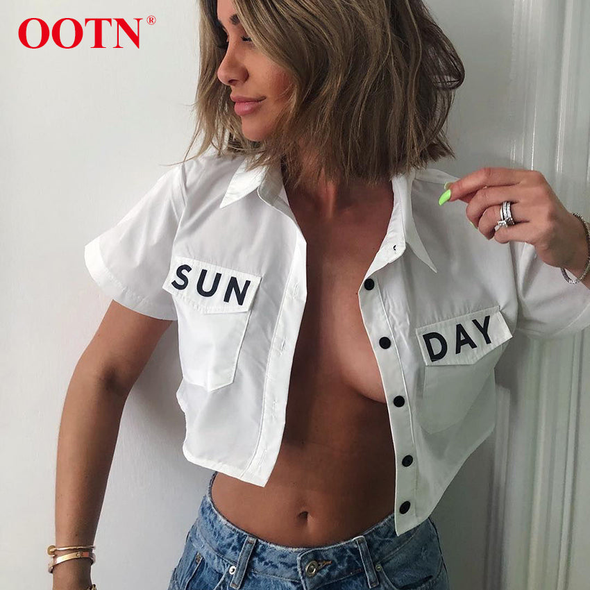 OOTN SUNDAY Print Crop Top Blouse Women Short Sleeve Shirts Female 2019 Summer Tops Turn Down Collar Office White Blouses Button