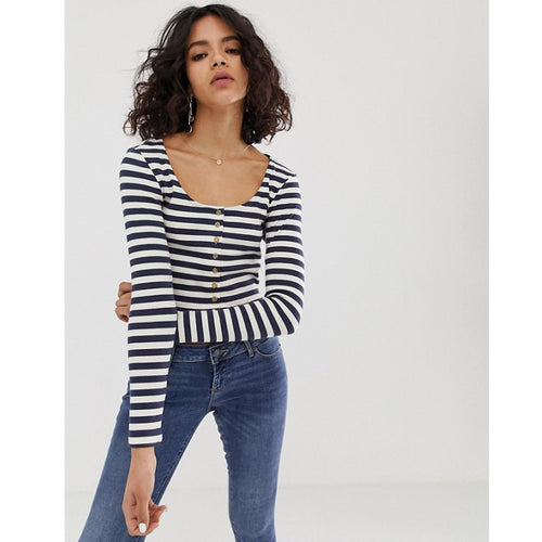 NATIVE YOUTH | Striped Button Front Long Sleeve Crop | Navy & White - LONDØNWORKS