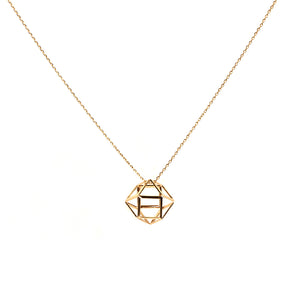BIG METAL LONDON | Necklace 1613 | Danni Caged Pendant | Gold - LONDØNWORKS