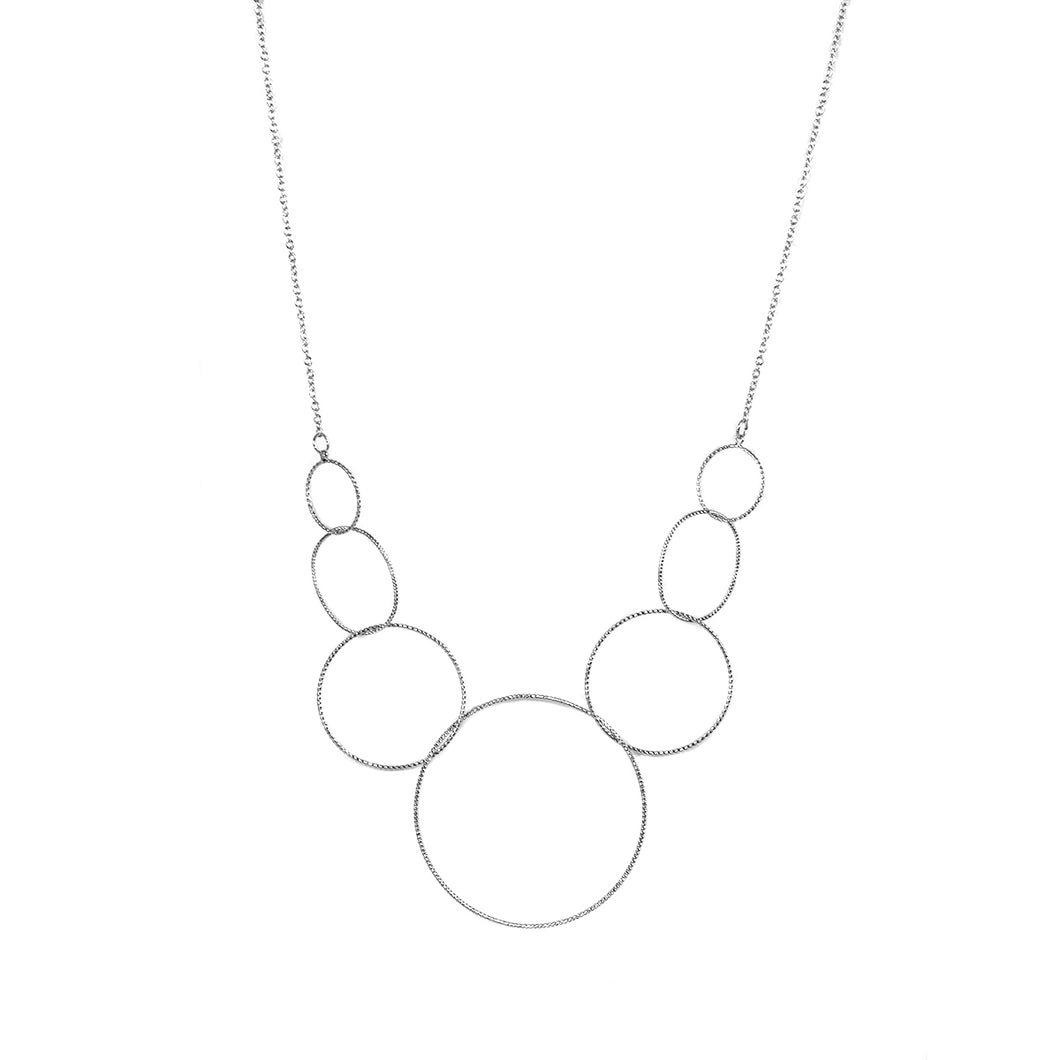 BIG METAL LONDON | Necklace 1644 Philomena Multi Circle Bib Necklace | Silver - LONDØNWORKS