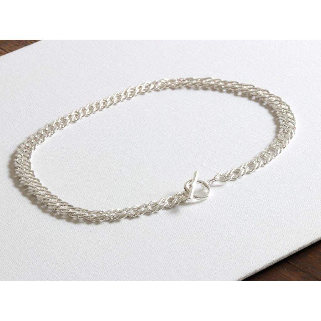 BIG METAL LONDON | Necklace 2054 Marcella Plated Statement Chain T-Bar Necklace | Silver - LONDØNWORKS
