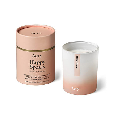 AERY | Happy Space Scented Candle | Rose Geranium & Amber - LONDØNWORKS