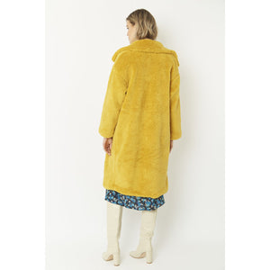 JAYLEY | Faux Long Sherling Teddy Coat FMCT295A-0Y | Yellow - LONDØNWORKS