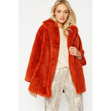 Load image into Gallery viewer, JAYLEY | Faux Fur Midi-Coat | Coral Red - LONDØNWORKS