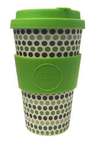 ECOFFEE | Cup Green Polka 14oz / 400ml | Green/White