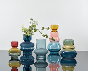BAHNE | Tall Lux Rainbow Glass Vase | Yellow Pink & Blue - LONDØNWORKS