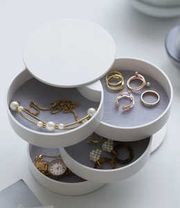YAMAZAKI | Tower 4 Tiered Jewellery Accessory Tray | White - LONDØNWORKS