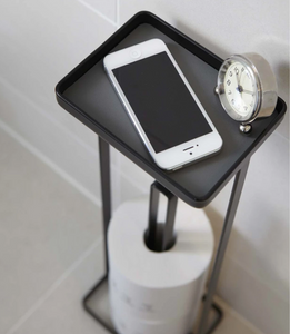 YAMAZAKI | Tower Toilet Paper Stand With Tray | Black - LONDØNWORKS