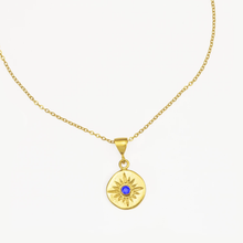 Load image into Gallery viewer, OTTOMAN HANDS | Vega Gold Star Necklace | Blue Crystal - LONDØNWORKS