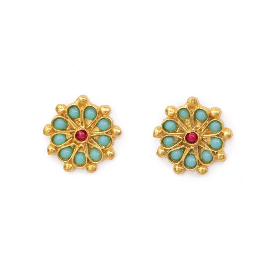 OTTOMAN HANDS | Marigold Turquoise And Red Agate Beaded Stud Earrings - LONDØNWORKS