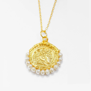 OTTOMAN HANDS | Artemisia Gold Plated Coin Pendant - LONDØNWORKS