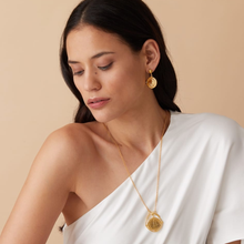Load image into Gallery viewer, OTTOMAN HANDS | Gold Plated Venus Roman Coin & Pearl Drop Earrings - LONDØNWORKS