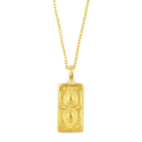 OTTOMAN HANDS | Tyche Engraved Gold Plated Rectangle Necklace - LONDØNWORKS