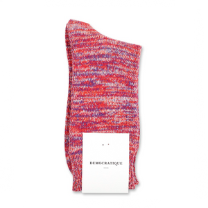 DEMOCRATIQUE SOCKS | Relax Chunky Flat Knit Supermelange | Pearl Red - LONDØNWORKS