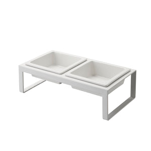 YAMAZAKI | Tower Pet Food Bowl Tall | White - LONDØNWORKS