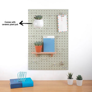 BLOCK DESIGN | Wooden Pegboard Lux & Plant Pot | Green - LONDØNWORKS