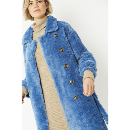 JAYLEY | Faux Sherling Teddy Coat | Blue - LONDØNWORKS