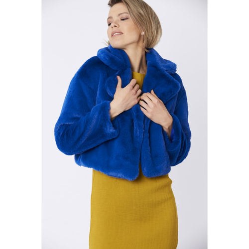 JAYLEY | Faux Fur Cropper Jacket | Electric Blue - LONDØNWORKS