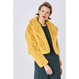 JAYLEY | Faux Fur Cropped Jacket | Yellow - LONDØNWORKS