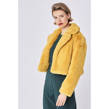 Load image into Gallery viewer, JAYLEY | Faux Fur Cropped Jacket | Yellow - LONDØNWORKS