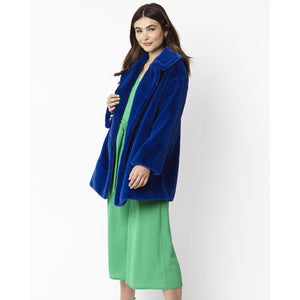 JAYLEY | Faux Fur Midi Coat | Electric Blue - LONDØNWORKS