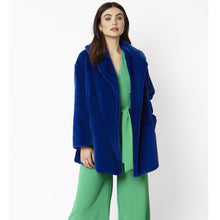 Load image into Gallery viewer, JAYLEY | Faux Fur Midi Coat | Electric Blue - LONDØNWORKS