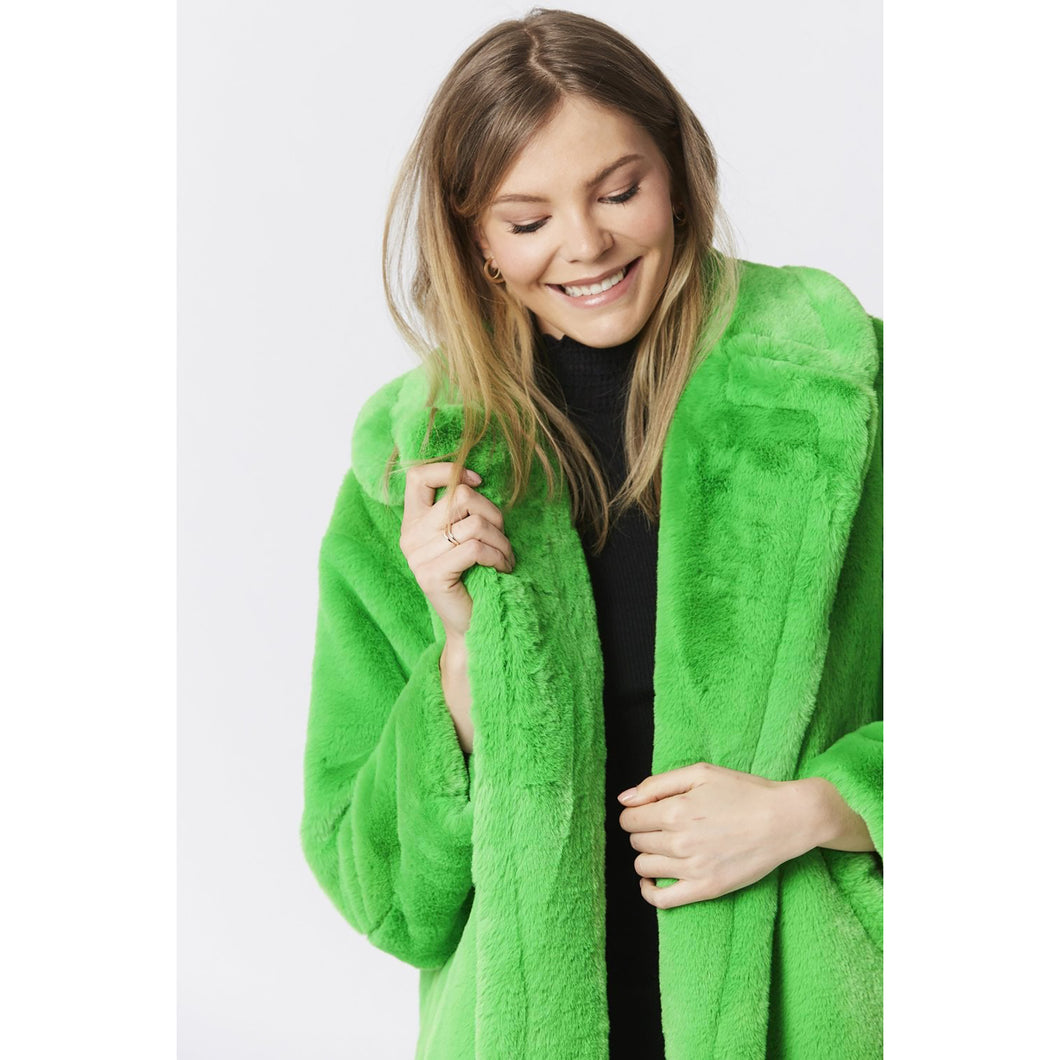 JAYLEY | Faux Fur Coat (with extra belt) | Neon Green - LONDØNWORKS
