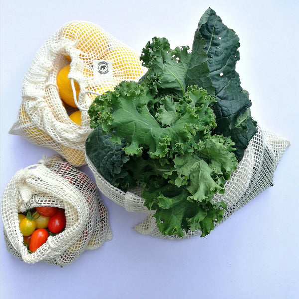 Cotton Mesh Produce Bags - Set of 3